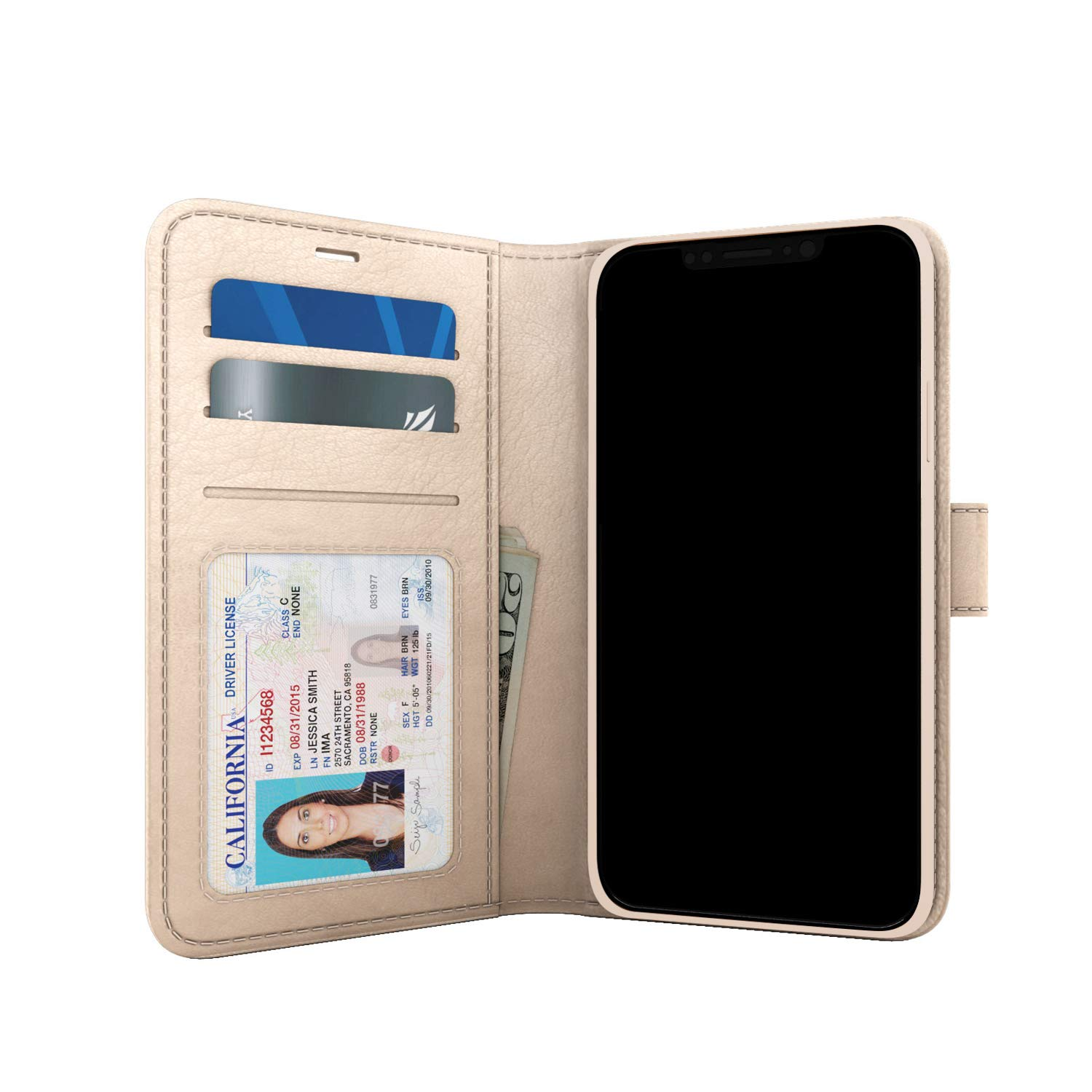 """Skech Polo Book Clutch Wallet Cover with Detachable Protective Shockproof Inner Case and Stand for iPhone 11, 6.1"""" Wireless Charging Compatible - Champagne"""