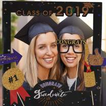 2019 Graduation Photo Booth Props with Class of 2019 Grad Photo Booth Frame Selfie Picture Frame for Graduation Party Supplies 2019 High School Senior Prom Grad Party