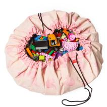 """Play Mat and Toy Storage Bag - Durable Floor Activity Organizer Mat - Large Drawstring Portable Container for Kids Toys, Books - 55"""", Elephant"""