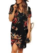 Actloe 2020 Women Short Sleeve Solid Side Tie Dress Above Knee