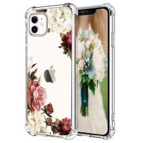"""Hepix White Purple Flowers iPhone 11 Cases for Women Girly Floral Clear 11 iPhone Case, Crystal Slim Flexible TPU Frame with Four Protective Bumpers Camera and Screen Protetcion for iPhone 11 (6.1"""")"""