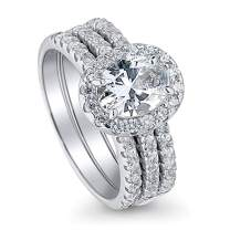 BERRICLE Rhodium Plated Sterling Silver Halo Wedding Engagement Ring Set Made with Swarovski Zirconia Oval Cut 2.1 CTW