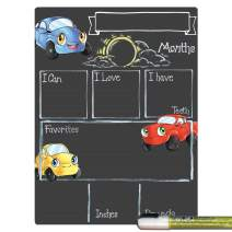 Cohas Monthly Milestone Board for Baby with Cars and Trucks Theme, Reusable Chalkboard Style Surface, and Liquid Chalk Marker, 9 by 12 Inches, White Marker