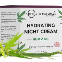 O Naturals Repairing Organic Hemp Oil Face Moisturizer Hydrating Night Cream. Hyaluronic Acid Anti Aging Face & Neck Cream. Moisturizes Dry Skin Anti Wrinkles Boost Collagen Women & Men Skincare 1.7oz