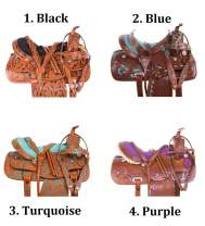 "AceRugs 14"" 15"" 16"" 17"" 18"" Hand Carved Western Barrel Racing Show Horse Saddle TACK Pleasure Trail Premium Leather"