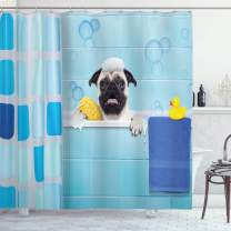 """Lunarable Pug Shower Curtain, Pug Dog in a Bathtub with Funny Expression Yellow Duck and Towel Domestic Pet Wash Time, Cloth Fabric Bathroom Decor Set with Hooks, 75"""" Long, Blue Yellow"""
