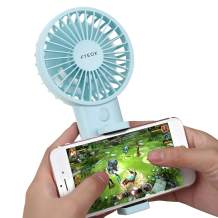Mini Handheld Fan with Cell Phone Holder,Portable Desk Stroller Table Fan,Folding Electric Fan with USB Rechargeable Strong Wind With 3 Speed for Outdoor or Indoor Activity (Blue, Φ 3.6inch)