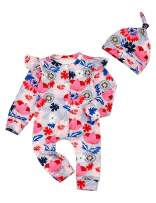 Lankey Baby Girls Clothes Floral Jumpsuit Long Sleeveless Romper Bodysuit+Headband Outfits