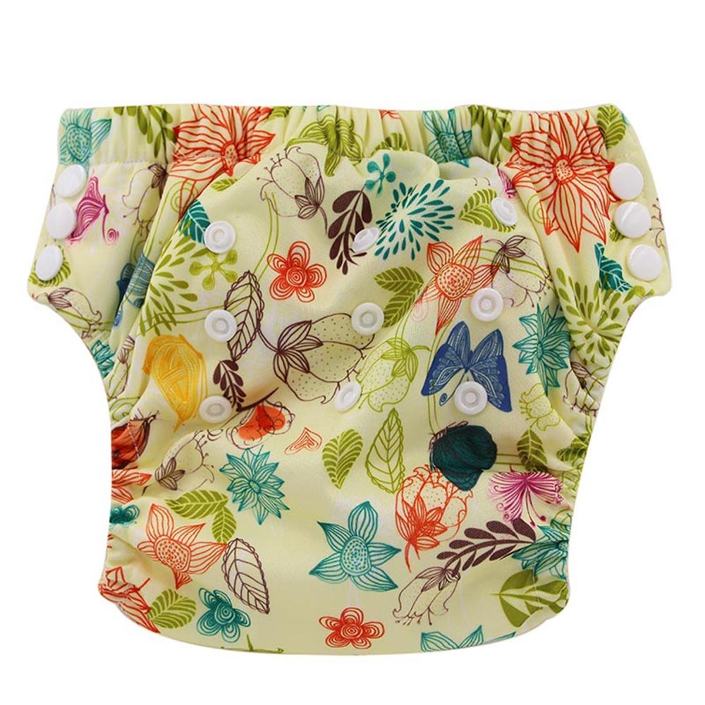 Ohbabyka Baby Training Pants Washable Reusable Nappy Diaper,Leaves and Flowers