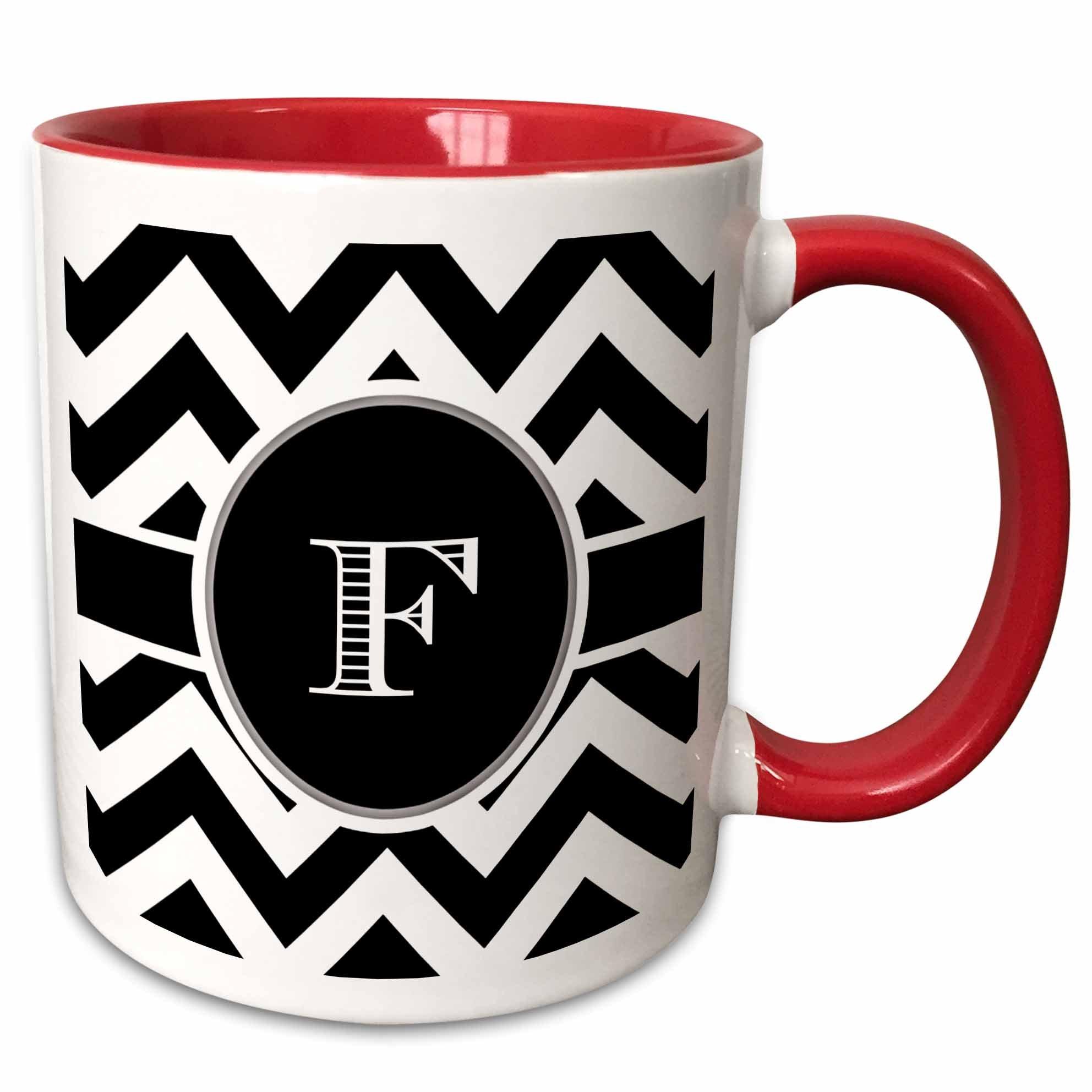 3dRose Chevron Monogram Initial F Two Tone Mug, 11 oz, Black/White/Red