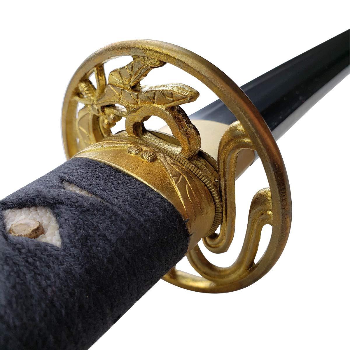 Musashi Silver Shirakawa Series Hand Forged Gold Dragonfly Katana Samurai Sword - 1060 High Carbon Steel Full Tang Blade for Collection, Gift, Straw Mat Cutting Practice