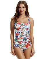 zeraca Women's Twist Tummy Control One Piece Swimsuit