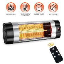 PATIOBOSS Patio Heater, Electric Wall-Mounted Outdoor Heater with LCD Display, Indoor/Outdoor Infrared Heater, 1500W Adjustable Thermostat, 3 Seconds Instant Warm, Waterproof IP34 Rated, W01