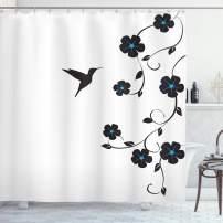 "Lunarable Hummingbirds Shower Curtain, Floral Art with Hummingbird Minimalistic Design Nature Life Springtime, Cloth Fabric Bathroom Decor Set with Hooks, 84"" Long Extra, Blue Black"