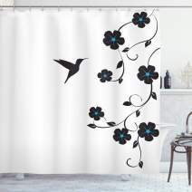 "Lunarable Hummingbirds Shower Curtain, Floral Art with Hummingbird Minimalistic Design Nature Life Springtime, Cloth Fabric Bathroom Decor Set with Hooks, 84"" Long Extra, Blue Black"