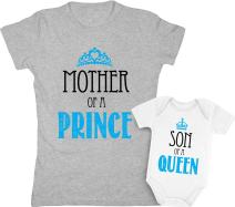Mother of a Prince & Son of a Queen Mommy And Baby Boy Matching Set Shirt Bodysuit Clothing Baby 6M / Women Large, Women Gray / Baby White