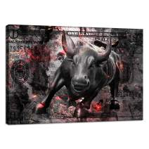 "Motivational Canvas Wall Art Painting Prints Poster Pictures Abstract Wall Street Bull Inspirational Canvas Wall Art Decoration Artwork for Entrepreneur Office Framed Ready to Hang - 24""Hx36""W"