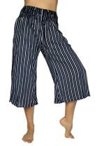 PIYOGA Women's Crop Capris Culottes w Elastic High Waist and 2 Pockets XS,S,M,L,XL,XXL