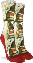 Good Luck Sock Women's Wise Book Owl Crew Socks - Grey, Adult Shoe Size 5-9