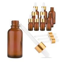 Kalevel Amber Glass Dropper Bottles with Waterproof Oil Proof Label Stickers Set Eye Dropper Glass Bottles for Essential Oils,Science,Chemistry Lab Chemicals (10 Pack)
