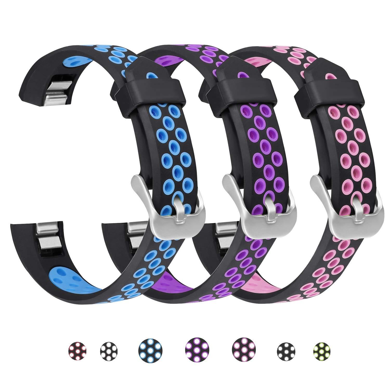 SKYLET Compatible with Fitbit Ace/Fitbit Alta Hr Bands, 3 Pack Soft Breathable Sport Wristbands Compatible with Fitbit Alta Kids Band Men Women (Black-Blue, Black-Purple, Black-Pink Large)