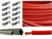 "4 Gauge 4 AWG Red 10 Feet Welding Battery Pure Copper Flexible Cable + 10pcs of 3/8"" Tinned Copper Cable Lug Terminal Connectors + 3 Feet Black Heat Shrink Tubing"