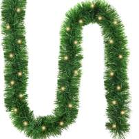 FUNARTY 19.6 Ft Christmas Lighted Pine Garland with 60 Count Clear Fairy String Lights for Christmas Party or Any Other Christmas Decoration