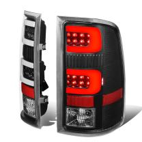 Black Clear Lens Dual 3D LED C-Shape Bar Tail Lights Rear Brake Lamps Replacement for Sierra 1500 2500HD 3500HD 07-14
