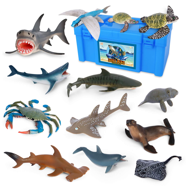 Volnau Sea Creature Toys 14PCS Atlantic Shark Toys Ocean Sea Animal Figurines for Toddlers Kids Christmas Birthday Gift Plastic Fish Toys Preschool Pack and Bath Sets