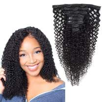 Clip in Hair Extensions Kinky Curly 100% Remy Human Hair 130g Silky Straight Short Thick Real Human Hair Extensions for Black Women(20 Inch,#1B Natural Black)