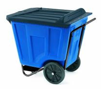 Akro-Mils 76491 30-1/2-Inch W by 47-Inch D by 39-1/2-Inch H 90 Gallon Akro-Cart Medium Duty Plastic Waste Transport Cart with Lid, Blue