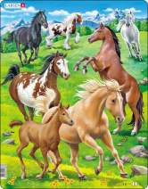 Larsen Puzzles Horses Children's Educational Jigsaw Puzzle - 65 Piece Tray & Frame Style Puzzle - Exclusive Premium Handmade Puzzles - Imported from Norway