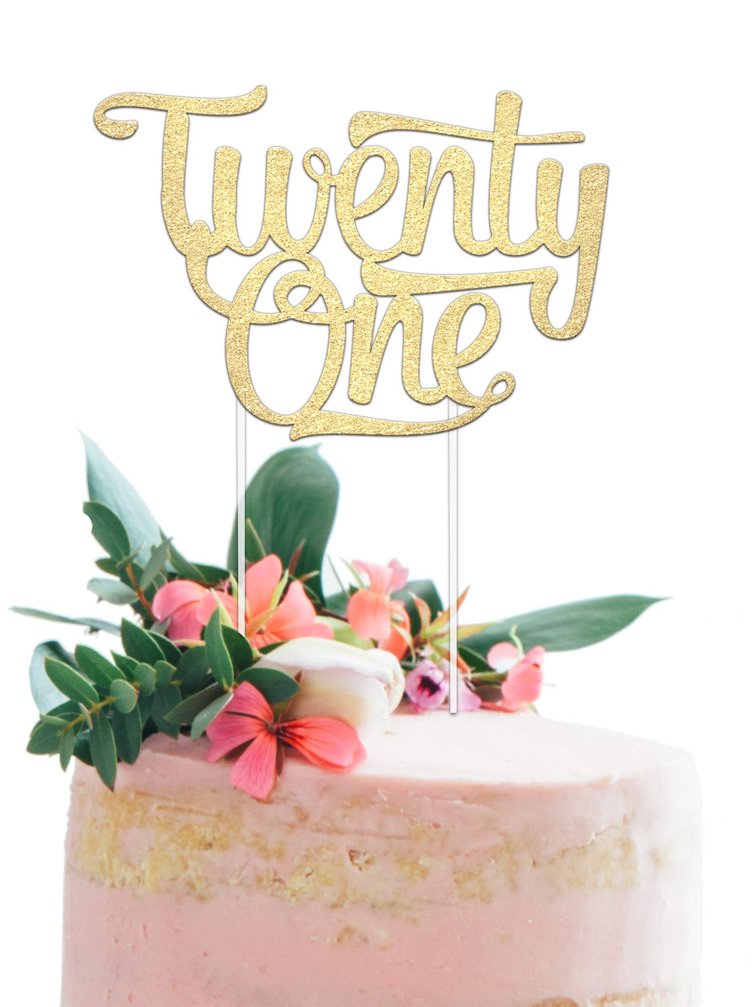 """21st Birthday Cake Topper - Twenty One - 7"""" x 5"""" Double Sided Champagne Gold Glitter Cardstock - Perfect Touch for Your BDay Decorations - Food-Safe & Eco-Friendly Stand by Merry Expressions"""