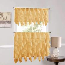 """Sweet Home Collection Veritcal Kitchen Curtain Sheer Cascading Ruffle Waterfall Window Treatment-Choice of Valance, 24"""" or 36"""" Teir, and Kit, Camel"""