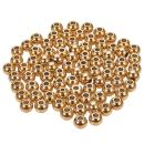 NBEADS 100 Pcs 6mm Metal Spacer Beads, 304 Stainless Steel Flat Round Metal Loose Beads Smooth Crafting Beads Supplies for Bracelets Necklace DIY Jewelry Making, Golden Color