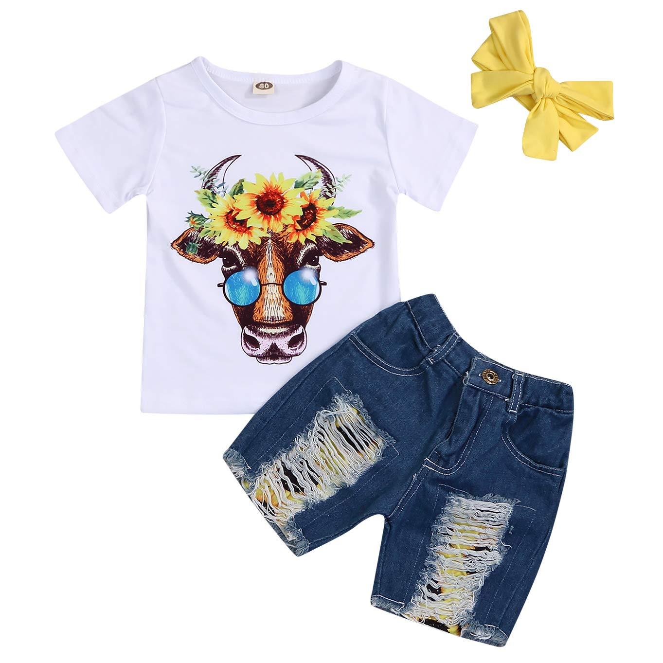 GRNSHTS Baby Girls Sunflower Shorts Set 3Pcs Infant Fly Sleeve Ruffled Shirt+Sunflower Diaper+Headband Summer Outfits