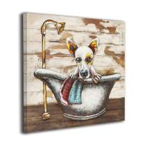 Colla Bathroom Decor Wall Art Rustic Cute Dog in A Bathtub On Vintage Wood Texture Dog Artwork Pictures Contemporary Home Decorations Framed Ready to Hang 16x16 Inches