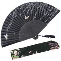 "OMyTea 8.27""(21cm) Women Hand Held Silk Folding Fans with Bamboo Frame - with a Fabric Sleeve for Protection for Gifts - Chinese/Japanese Style Butterflies and Willow Pattern (WZS-35)"