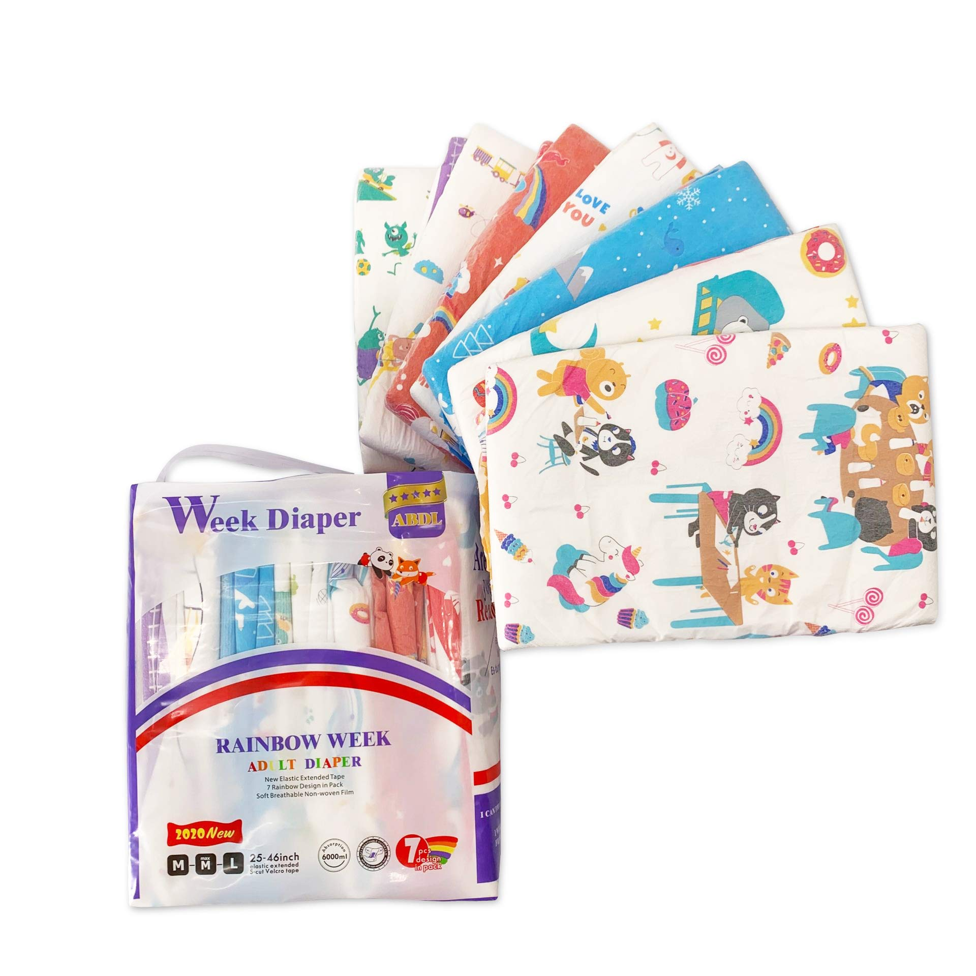 Adult Diaper One time Diaper Adult Baby Diaper Lover ABDL 7 Pieces (Rainbow Week Diaper)
