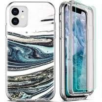 FIRMGE for iPhone 11 Case, with [2 x Tempered Glass Screen Protector] 360 Full-Body Coverage Hard PC+Soft TPU Silicone 3 in 1 Military Grade Heavy Duty Shockproof Phone Protective Cover Marble 01