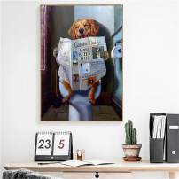 DOLUDO Painting Posters Cute Funny Dog Toilet Reading Newspaper Wall Art for Bathroom Decoration Gifts Artwork No Frame 24x32inch