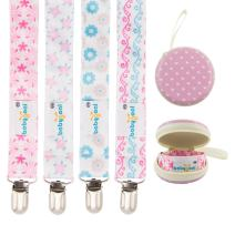 Babygoal Baby Girl Pacifier Clips with Pacifier Case, 4 Pack Metal Teething Clips & Baby Shower Gift Fits All Pacifier Styles 4MP04-HZ