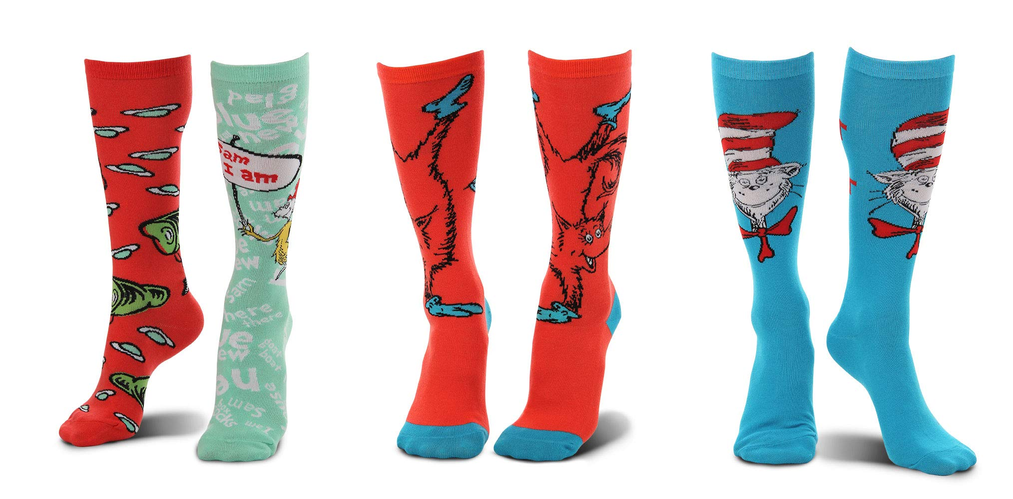 elope Dr. Seuss Cat in The Hat Paws, Fox in Socks, Green Eggs and Ham Socks Bundle