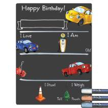 Cohas Birthday Milestone Board with Cars and Trucks Theme and Reusable Chalkboard Style Surface, 12 by 16 Inches, 3 Pastel Markers