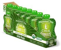 Mamma Chia Squeeze (Green Magic) Organic Vitality Pouches, Healthy Snacks, Vegan Fruit and Veggie Puree, Non GMO, Gluten Free, No Added Sugar, 1200mg Omega-3, 3.5 Ounce, Pack of 16