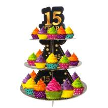 Happy 15th Birthday 3 Tier Cardboard Cupcake Stand / Tower Round Tiered Serving Platter Birthday Decorations Cheers To Sweet 15 Birthday Party