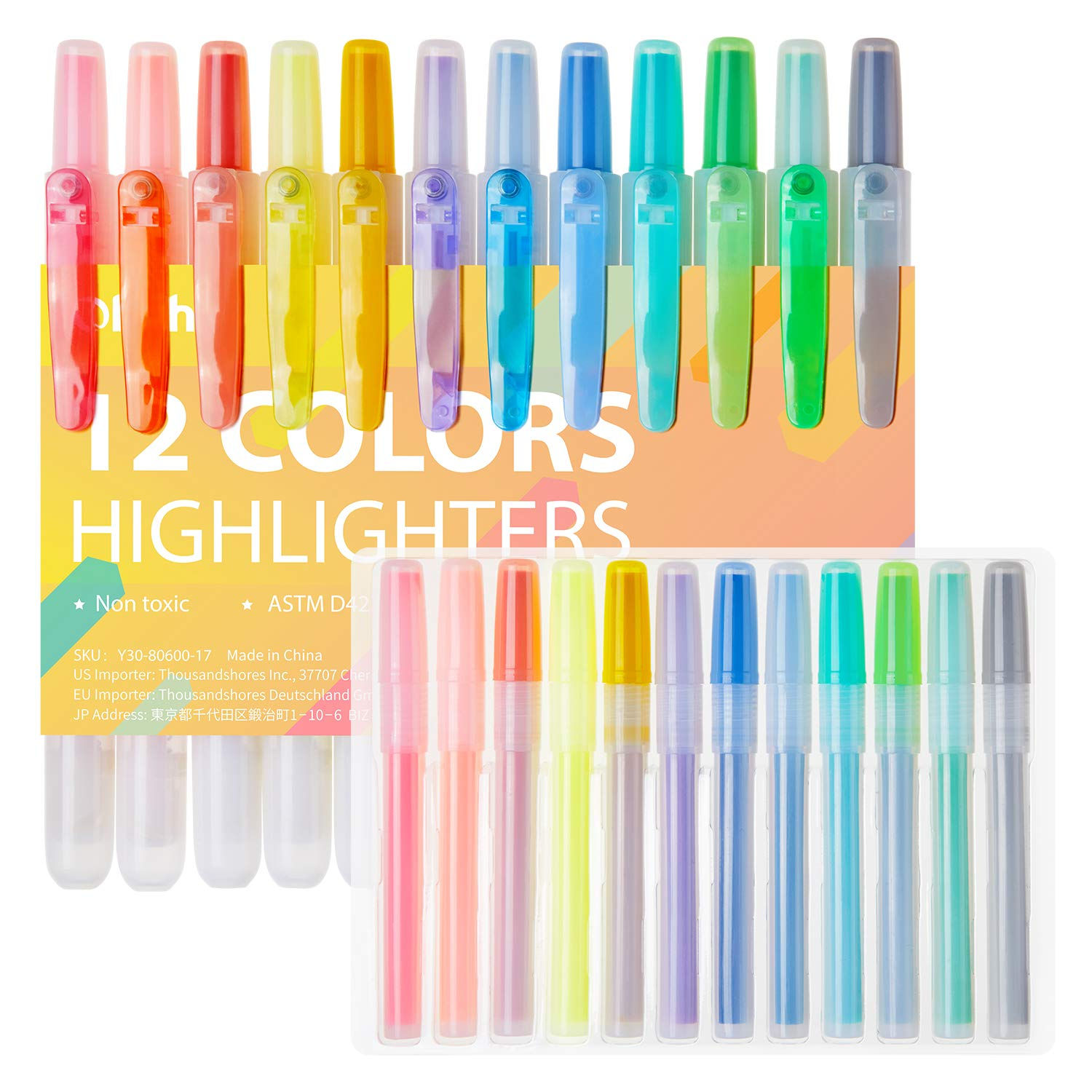 24 Packs Highlighter Markers, Ohuhu 12 Colors + 12 Replacement Refills, Chisel Tip Highlighters, Assorted Soft & Fluorescents Colors Bible Marker for Adults Kids Journaling Study Back To School Gifts