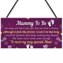 """Meijiafei Mummy to Be Gifts from Bump Hanging Plaque Baby Shower Present to Mum from Baby Daughter Son Gift 10"""" X 5"""""""
