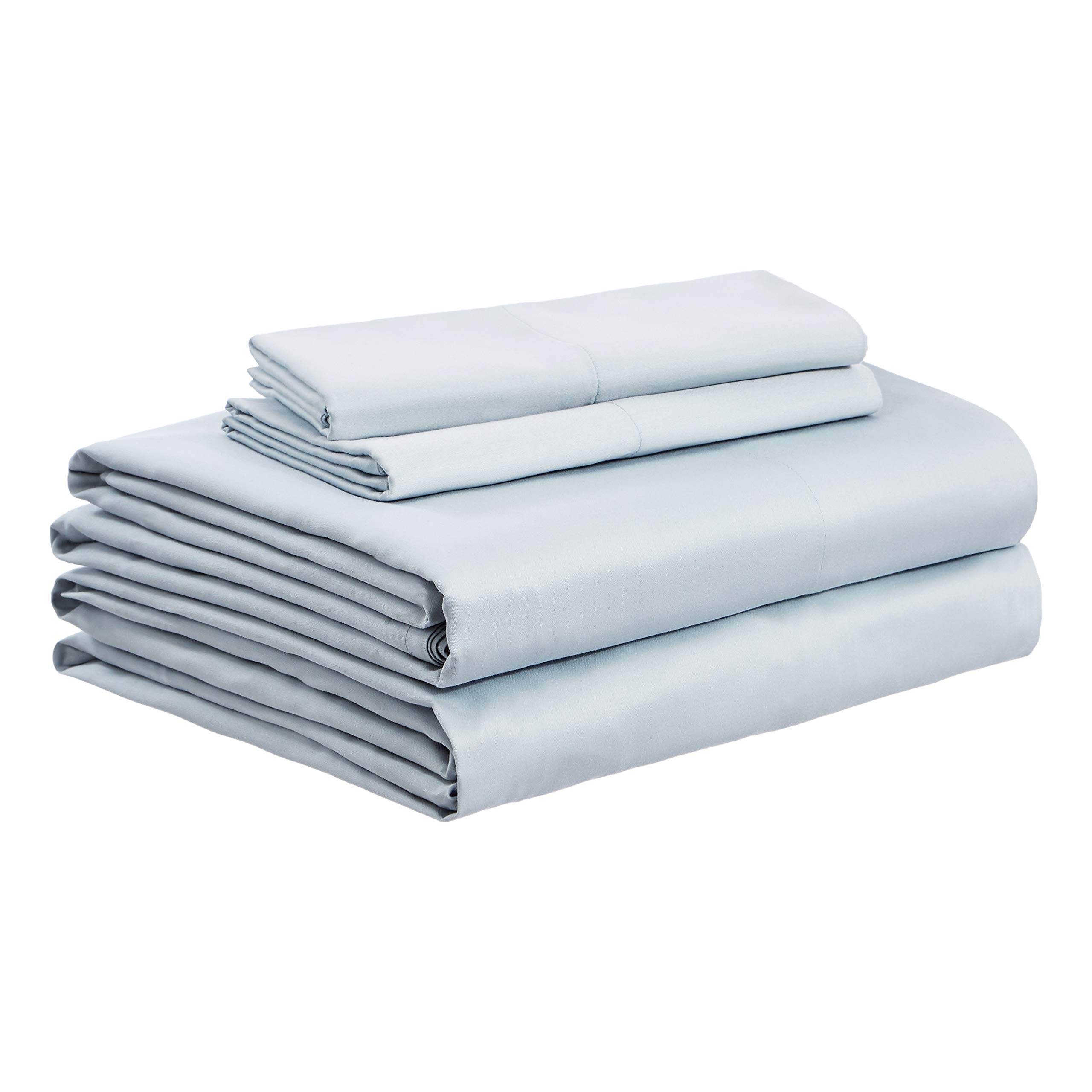AmazonBasics Organic Sateen Cotton Sheet Set - Queen, Sage Green