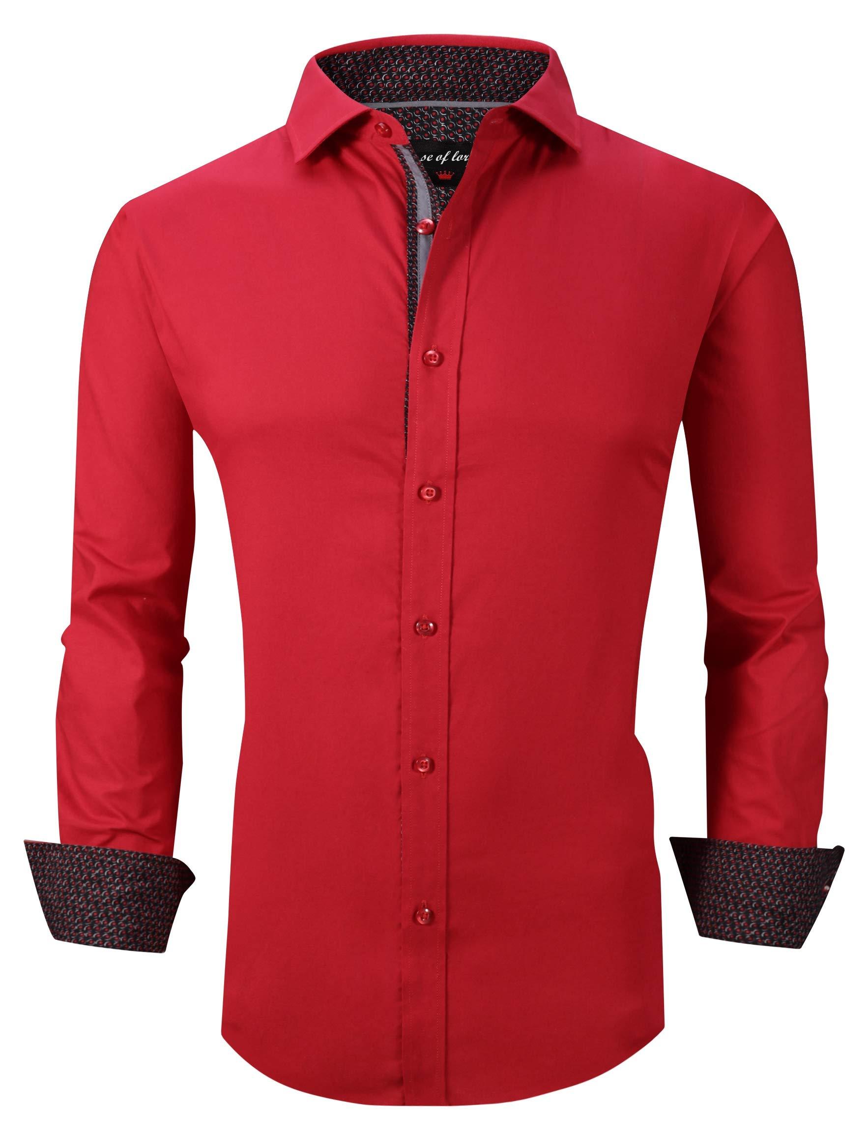 Mens Dress Shirts Long Sleeve Regular Fit Casual Button Down Shirts Red XXL